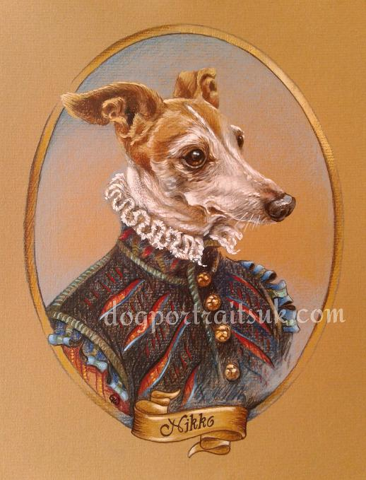 anthropomorphic pet portrait, dog in costume, art