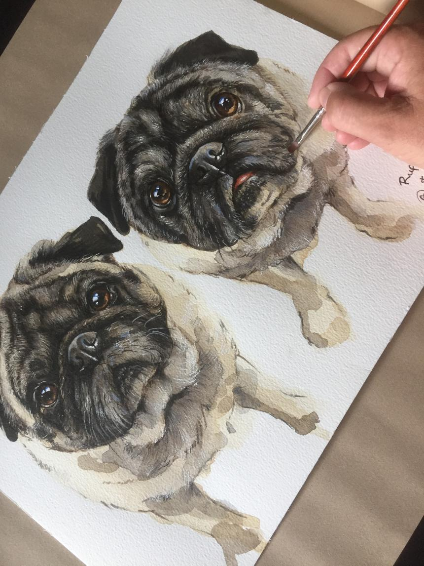 custom pet portraits, dog portraits uk